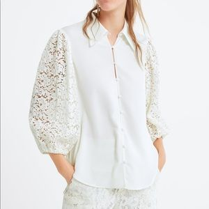 Zara white contrasting lace long sleeve top M